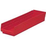 Shelf Bin, 23-5/8 IN. L, 6-5/8 IN. W, 4 IN. H, Red